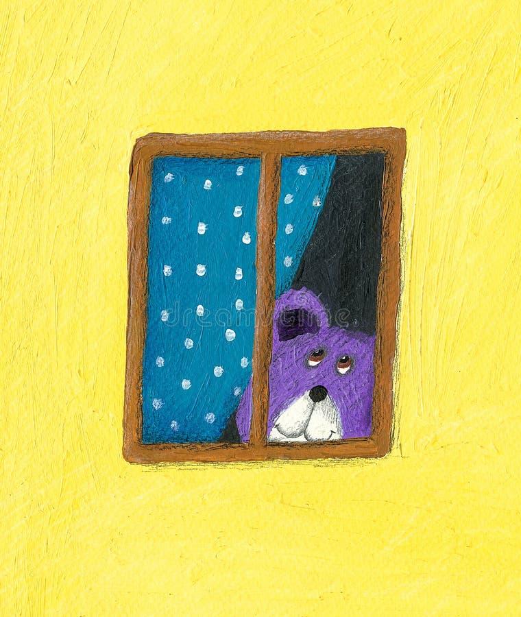 Oso de peluche que mira a través de la ventana ilustración del vector