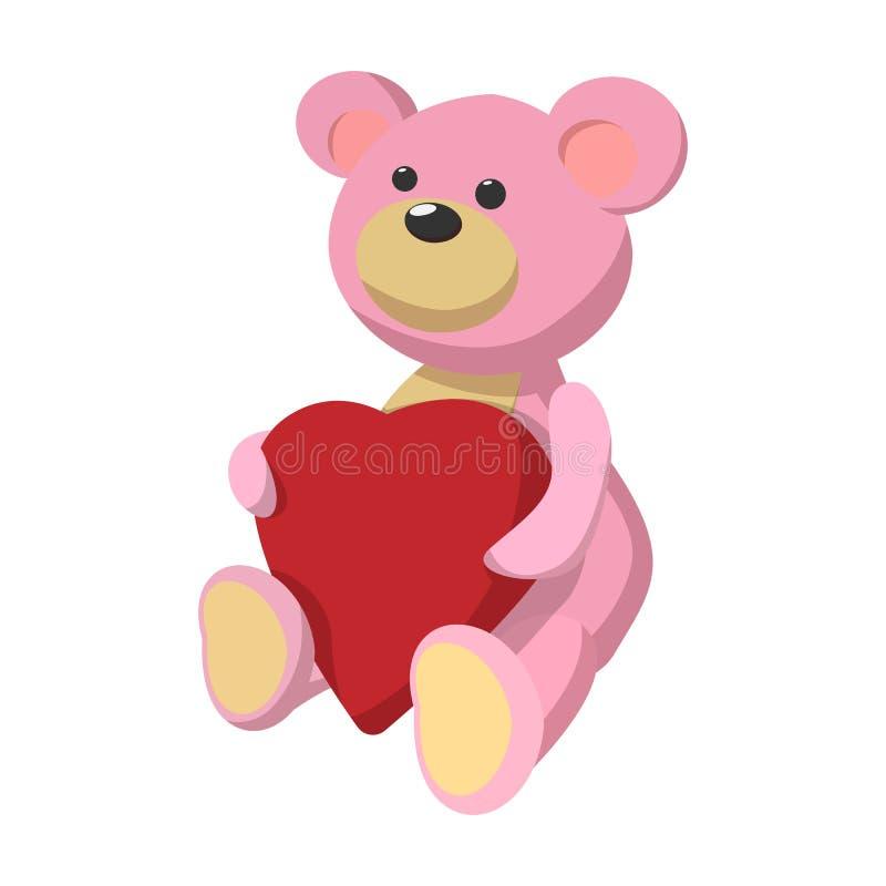Oso de peluche rosado con el icono de la historieta del corazón stock de ilustración