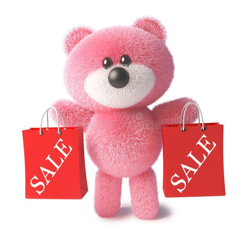 Oso de peluche rosado feliz con la piel suave que sostiene los bolsos de compras de las ventas, ejemplo 3d stock de ilustración