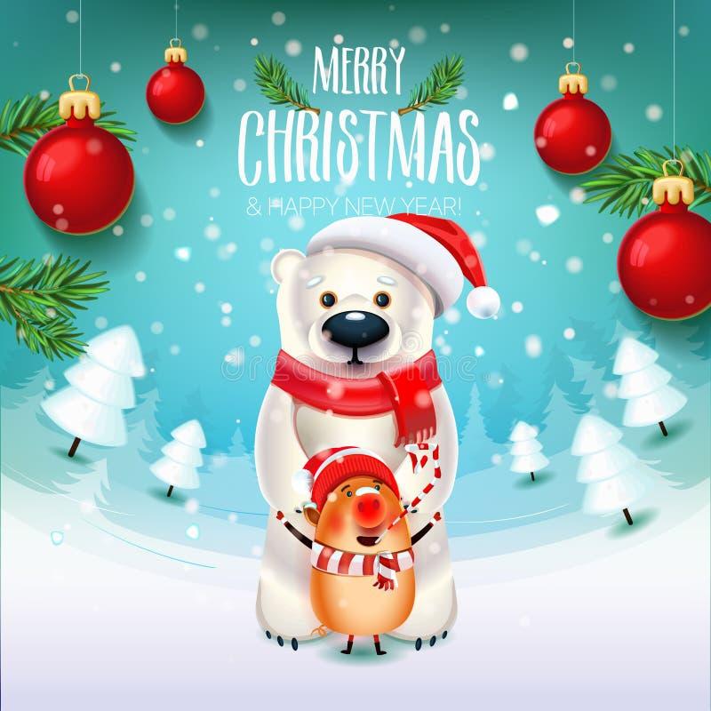 Oso del Año Nuevo con el símbolo del cerdo 2019 en el campo con las ramas y los juguetes de árboles de navidad libre illustration