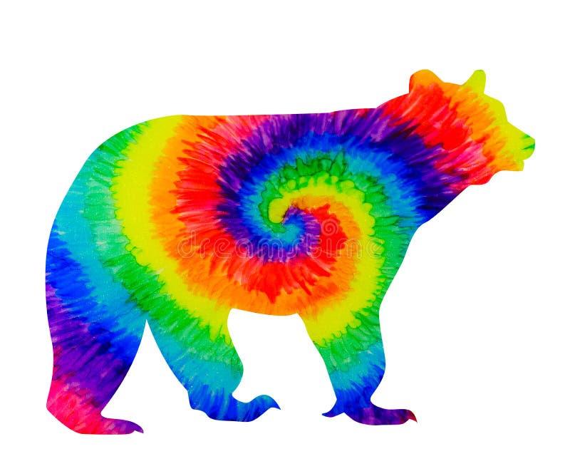 Oso del arco iris en tintas del teñido anudado ilustración del vector
