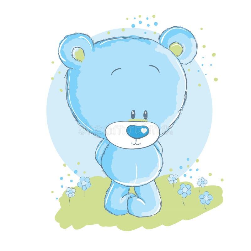 Oso del azul de bebé ilustración del vector