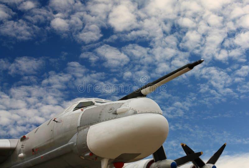 Oso del bombardero Tu-95, parte delantera de los aviones fotografía de archivo