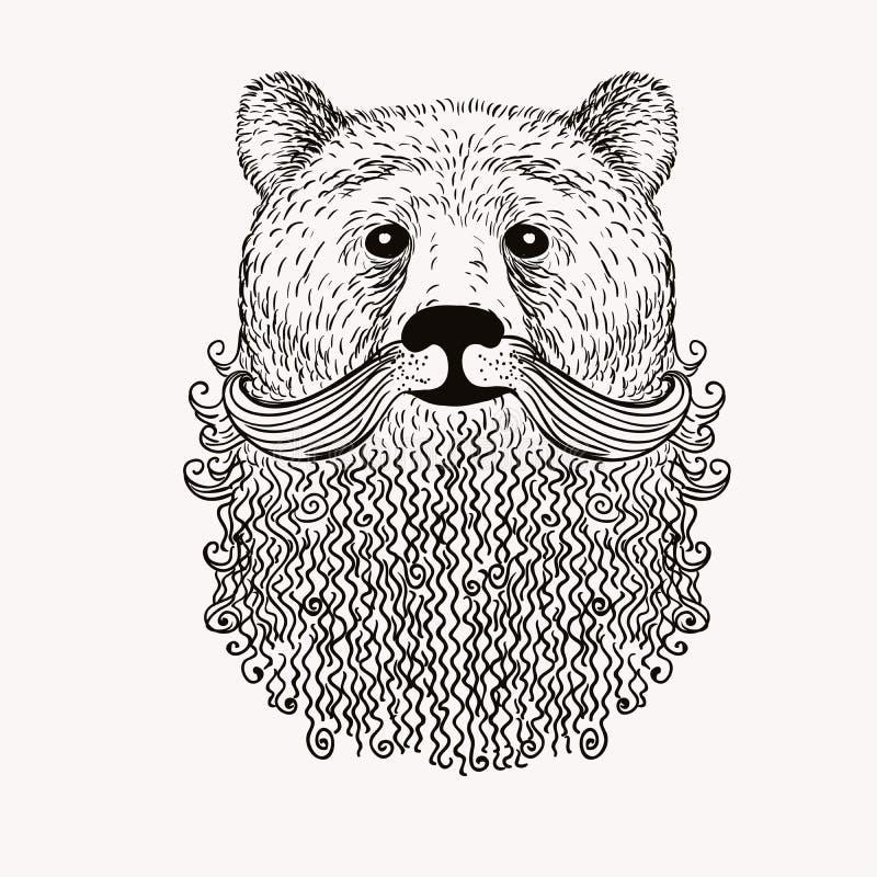 Oso del bosquejo con una barba Ilustración drenada mano Doodl stock de ilustración