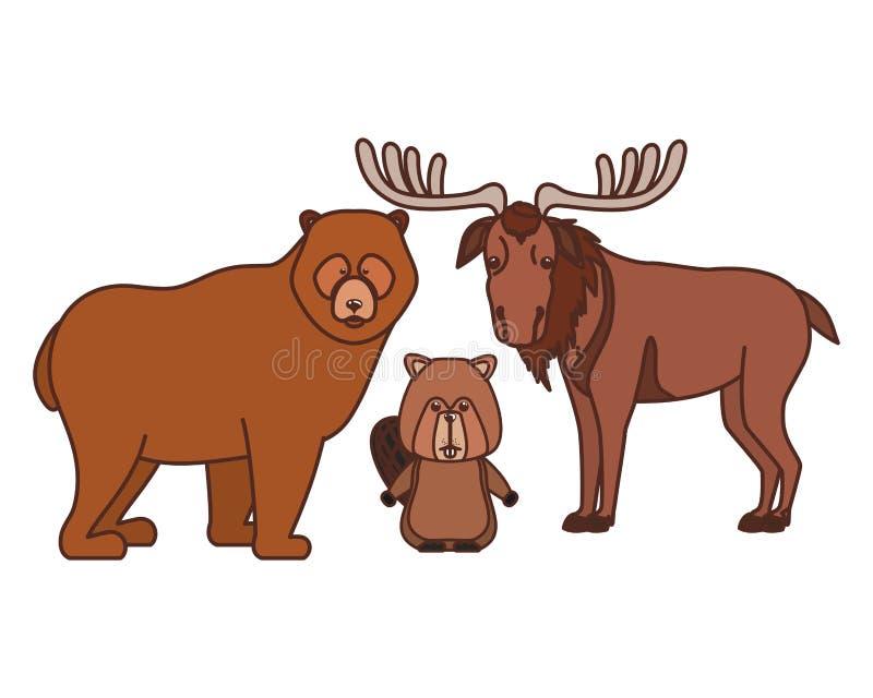 Oso del castor y animal de los alces del diseño de Canadá stock de ilustración