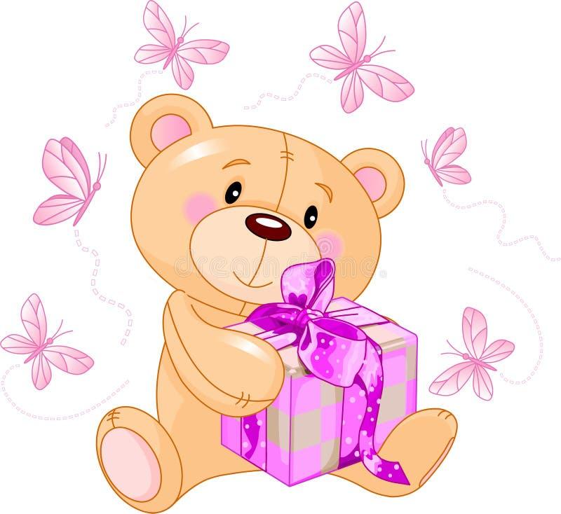 Oso del peluche con el regalo rosado stock de ilustración