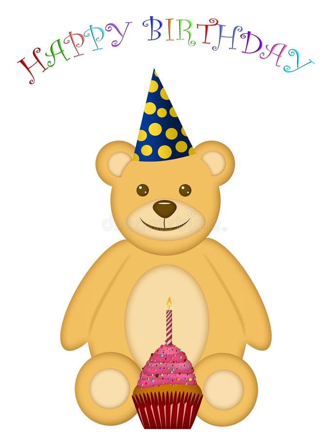 Oso del peluche del cumpleaños con el sombrero y la magdalena del partido stock de ilustración