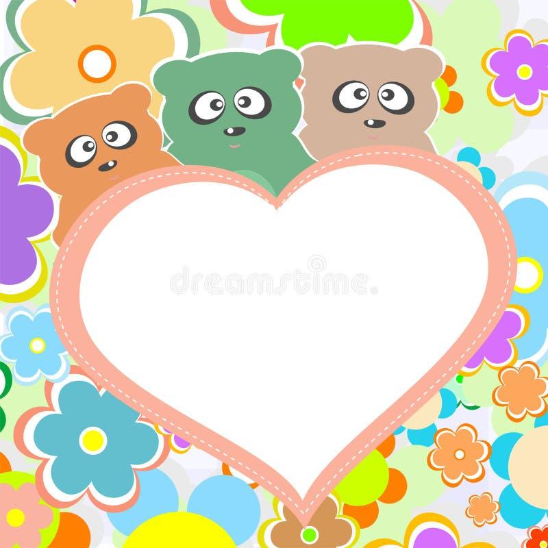 Oso del peluche en flores con el corazón grande, vector ilustración del vector