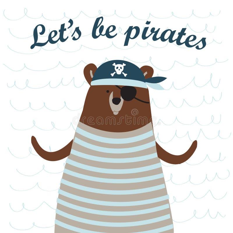 Oso del pirata stock de ilustración