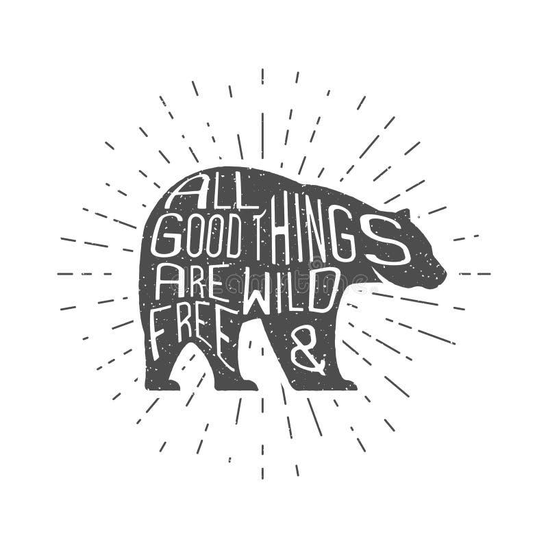 Oso del vintage con la mano dibujada poniendo letras a lema Diseño animal monocromático retro con tipografía inspirada Motivación libre illustration
