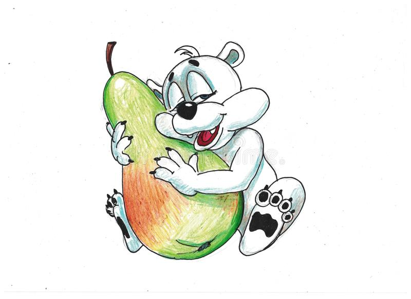 Oso divertido con las frutas imagen de archivo libre de regalías