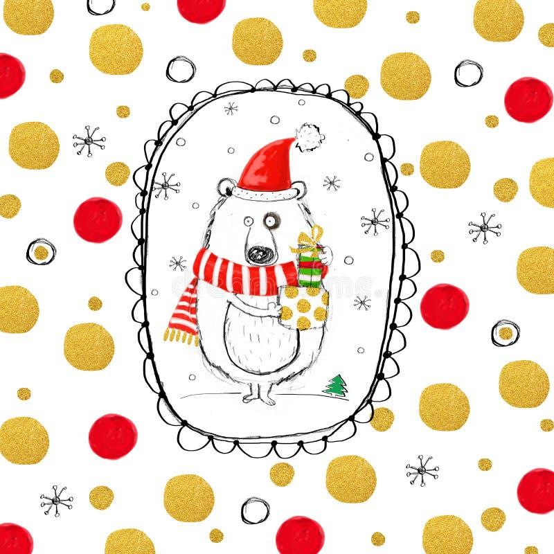 Oso divertido con los regalos de la Navidad en el sombrero de Papá Noel libre illustration