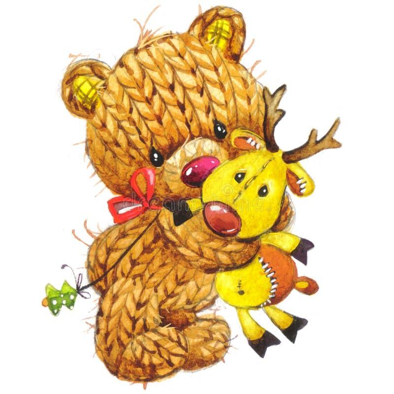 Oso divertido del juguete del Año Nuevo con la decoración del invierno watercolor ilustración del vector