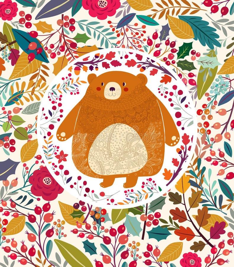 Oso en bosque del otoño stock de ilustración