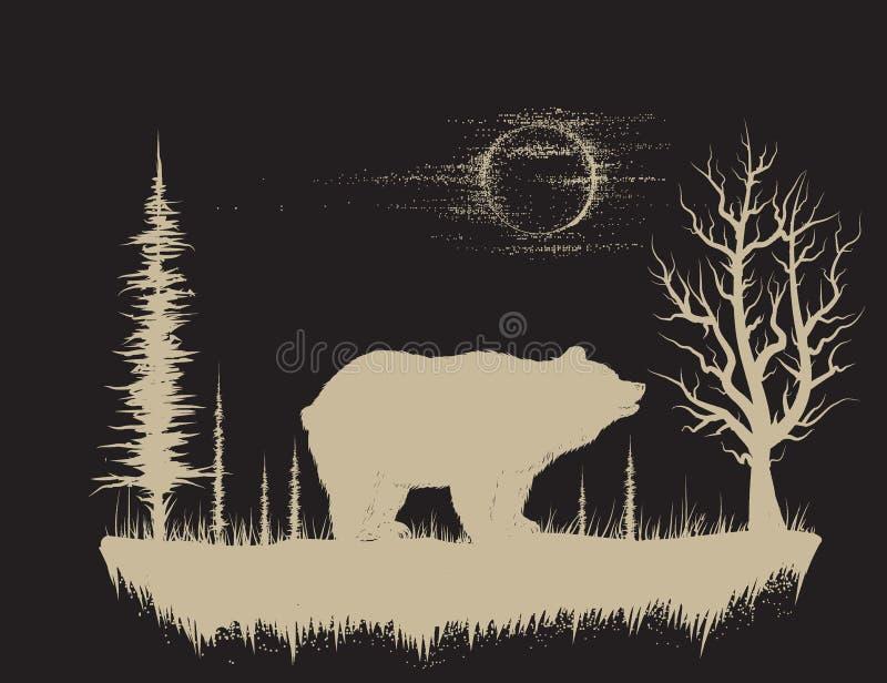 Oso en el bosque extraño ilustración del vector