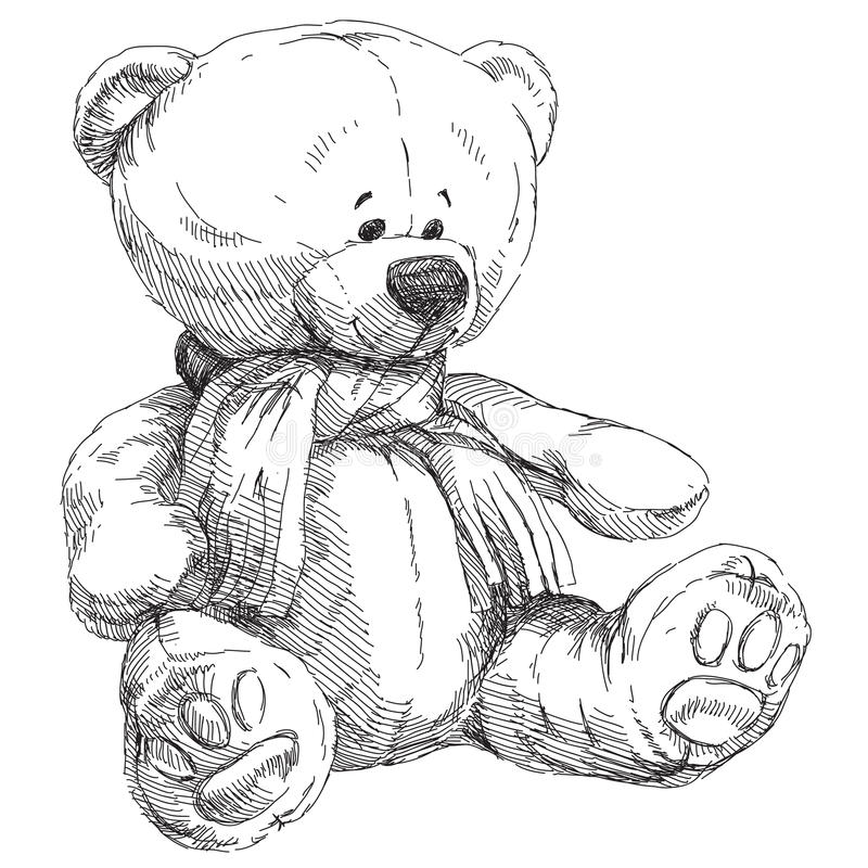 Oso encantador del peluche stock de ilustración