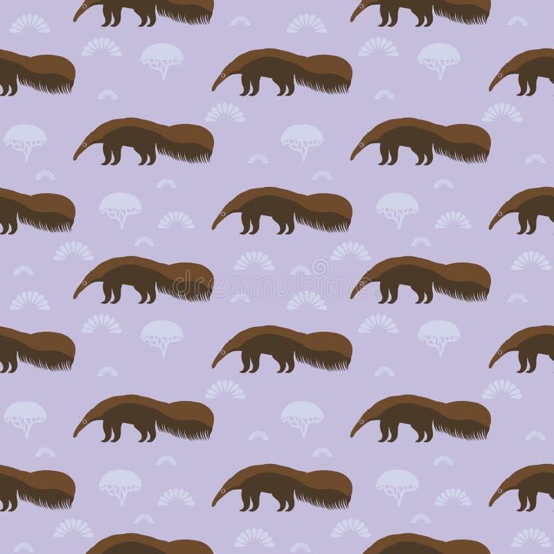 Oso hormiguero gigante marrón divertido, oso de hormiga, hormiga-comedor, hormiga-oso natural insectívoro grande del mamífero a l libre illustration