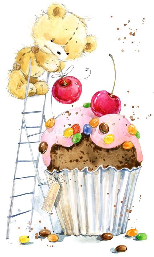 Oso lindo del peluche Fondo para la tarjeta de felicitación Ejemplo del oso de la acuarela stock de ilustración