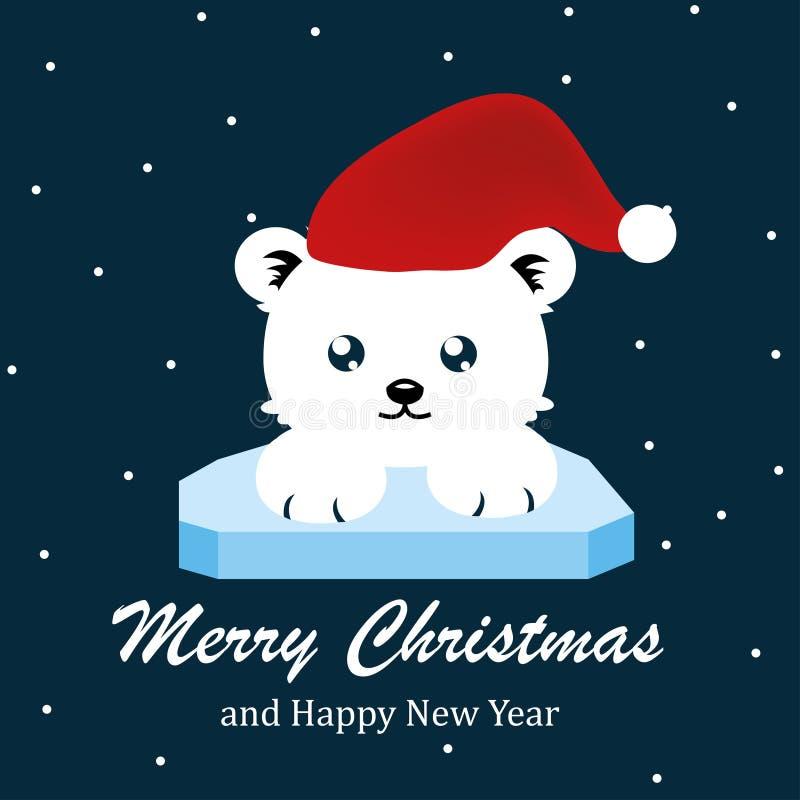 Oso lindo, Feliz Navidad y vector de la Feliz Año Nuevo fotos de archivo
