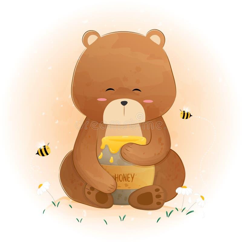 Oso lindo que sostiene el tarro y las abejas de la miel que vuelan alrededor stock de ilustración