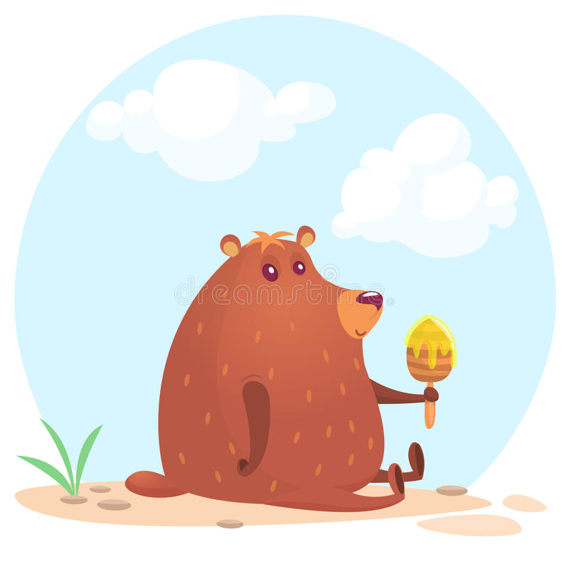 Oso marrón de la historieta linda que sostiene el palillo de madera de la miel Vector el ejemplo de una sentada del oso aislado e libre illustration