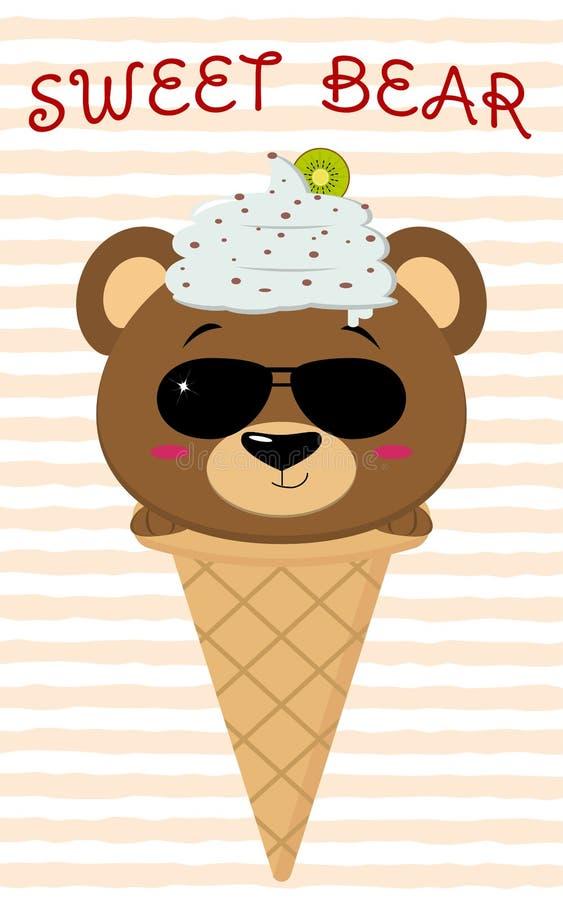 Oso marrón lindo en la imagen del helado, estilo de la historieta libre illustration