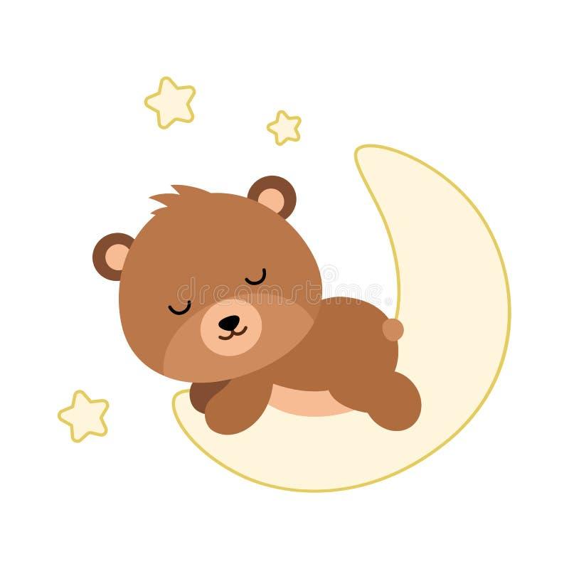 Oso plano adorable que duerme en la luna Vector libre illustration
