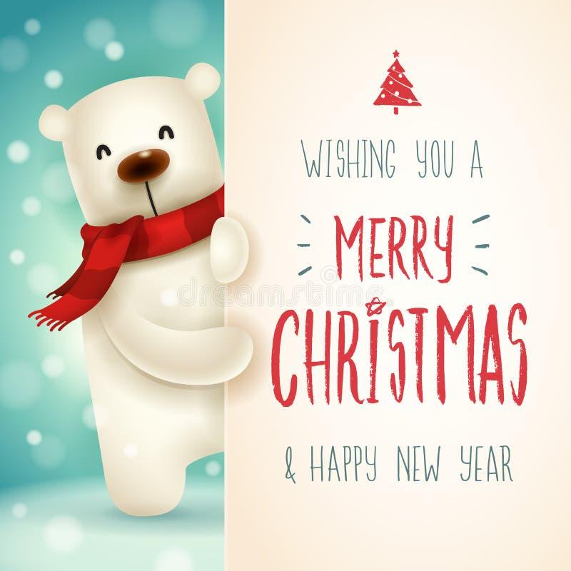 Oso polar con el letrero grande Lette de la caligrafía de la Feliz Navidad libre illustration