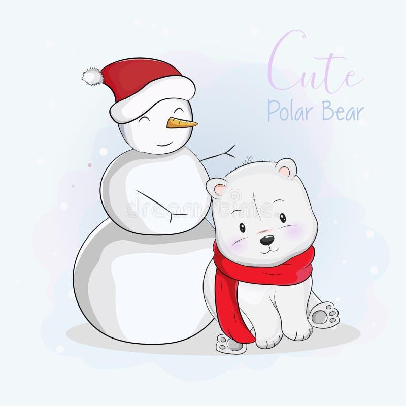 Oso polar de la historieta linda en bufanda y muñeco de nieve stock de ilustración