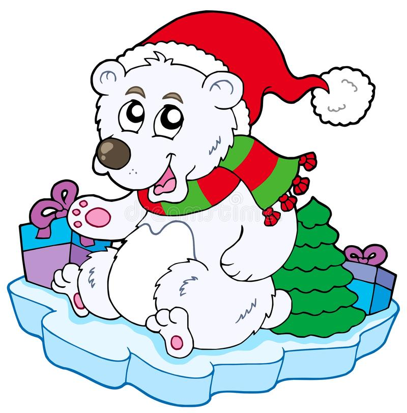 Oso polar de la Navidad stock de ilustración