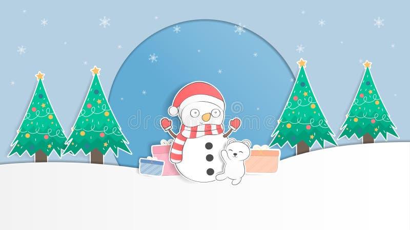 Oso polar del bebé lindo y fondo en colores pastel de la Navidad del muñeco de nieve y imagen de archivo