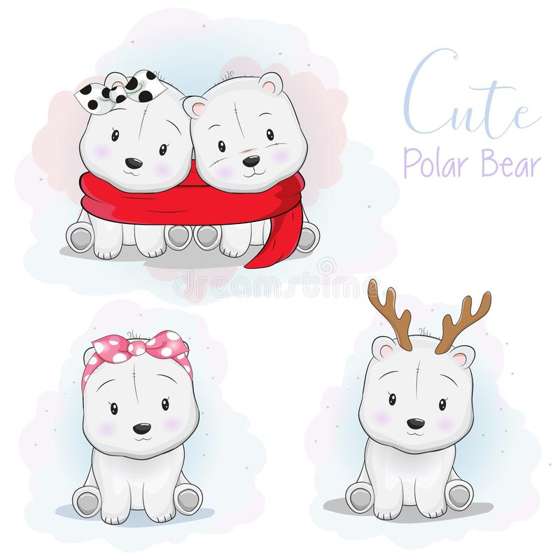 Oso polar fijado de la historieta linda con el cuerno de la cinta, de la bufanda y de los ciervos en el fondo blanco stock de ilustración