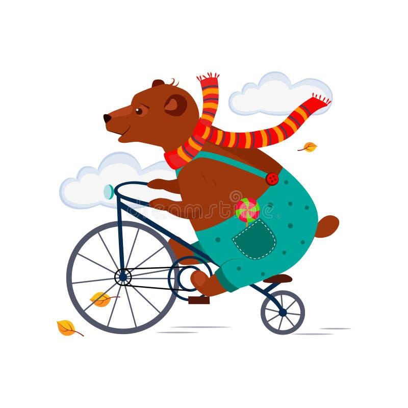 Oso que monta una bicicleta en otoño de la bufanda Vector libre illustration