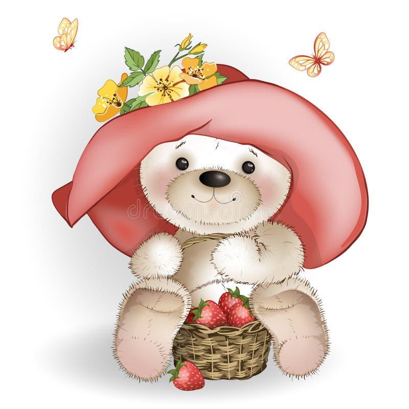 Oso sonriente en el sombrero grande que se sienta con una cesta de strawberrie stock de ilustración