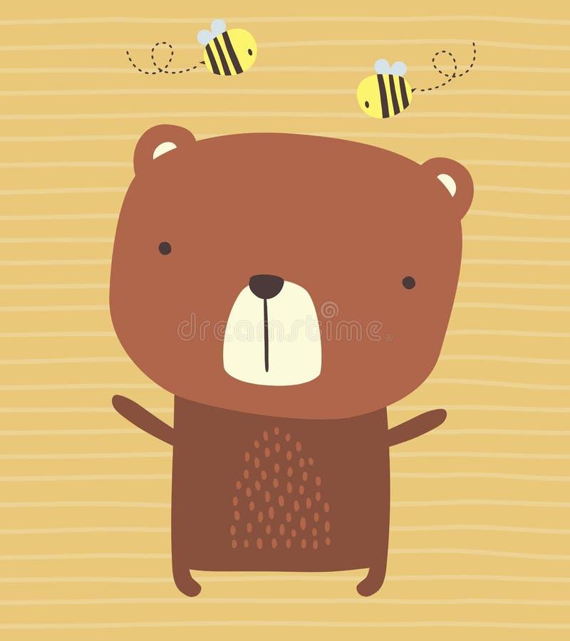 Oso y abejas lindos en fondo rayado libre illustration