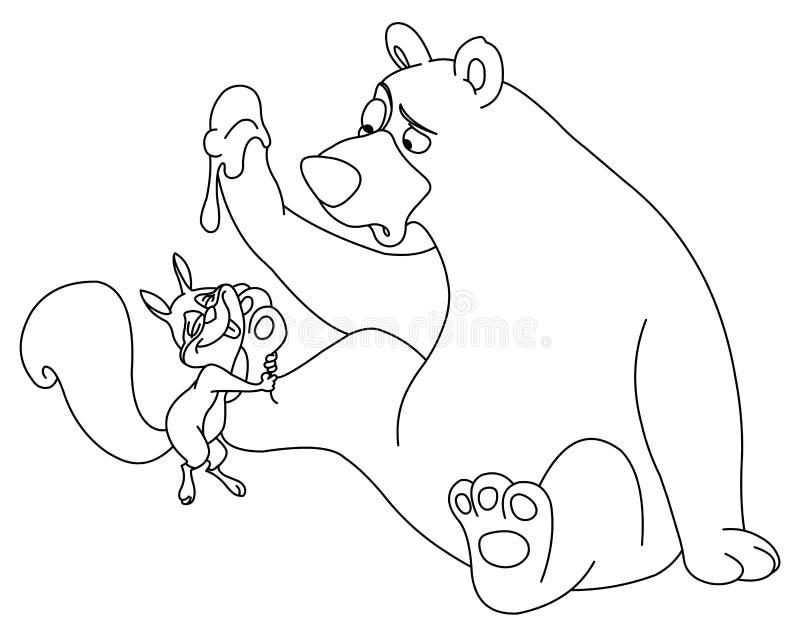 Oso y ardilla contorneados stock de ilustración