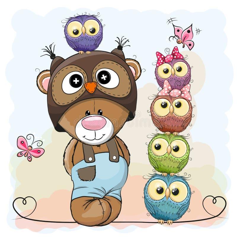 Oso y búhos stock de ilustración