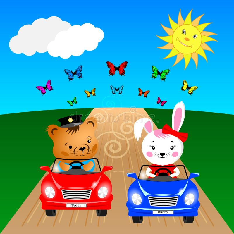 Oso y conejito de peluche en coches ilustración del vector