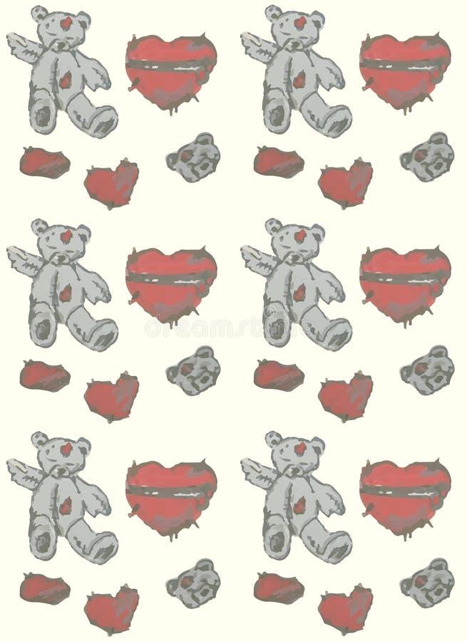 Oso y corazón pintados a mano de peluche Fondo inconsútil stock de ilustración