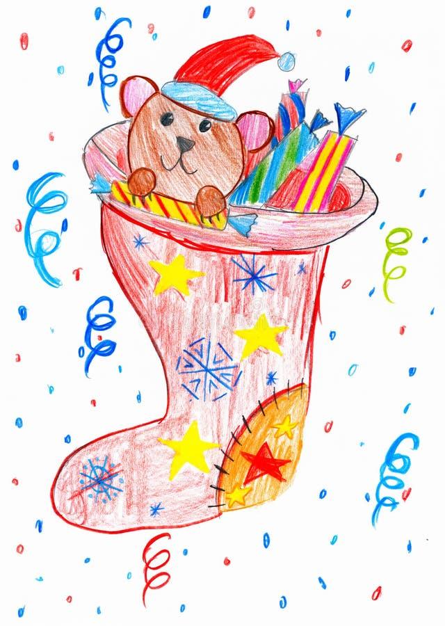Oso y juguetes en un calcetín de la Navidad, dibujo del niño ilustración del vector
