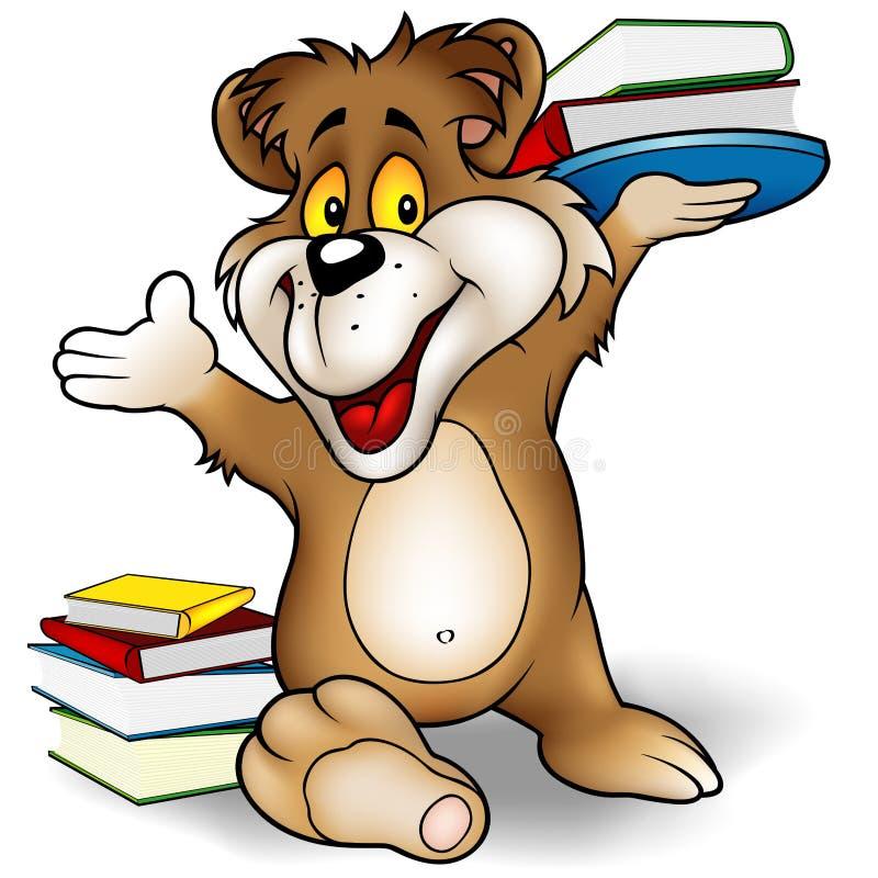 Oso y libros dulces stock de ilustración