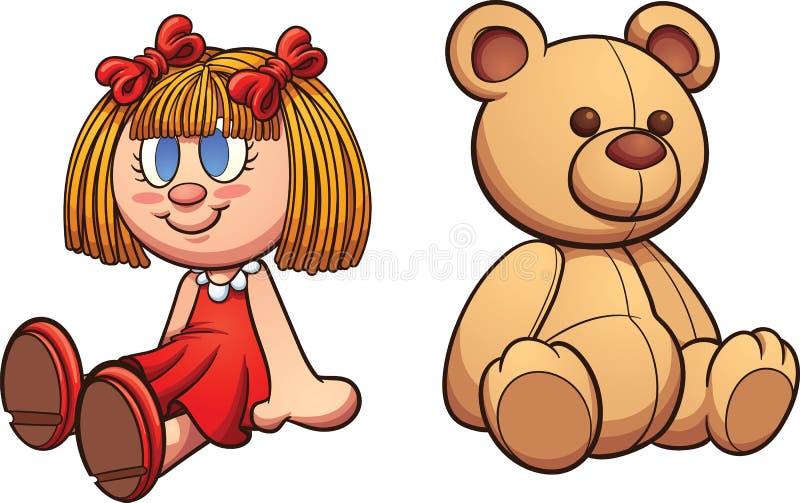 Oso y muñeca de peluche stock de ilustración