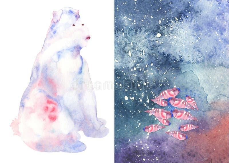 Oso y pescados abstractos lindos de la acuarela ilustración del vector