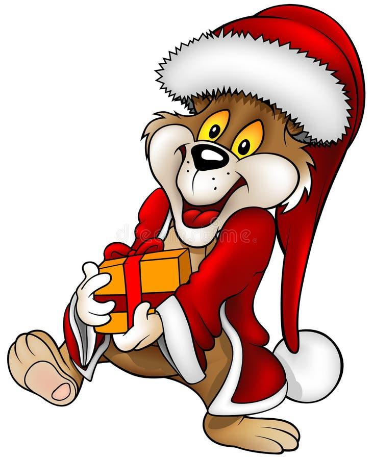 Oso y regalo de Santa ilustración del vector