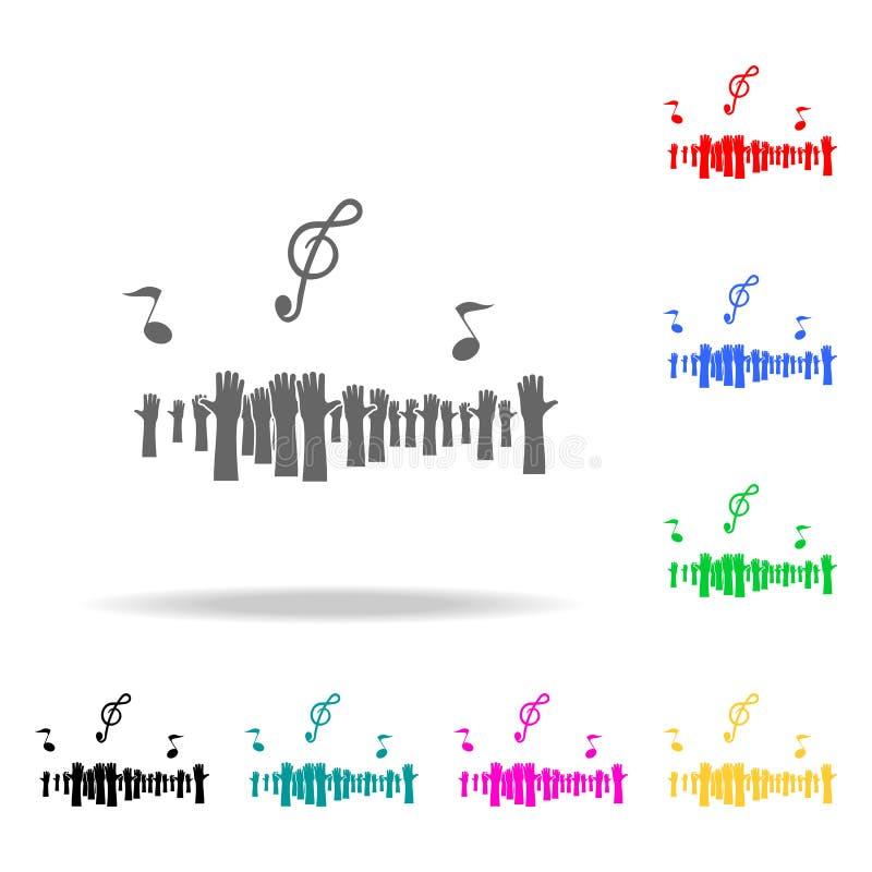 osob ręk i muzykalnych notatek ikona Elementy partyjne wielo- barwione ikony Premii ilości graficznego projekta ikona Prosta ikon ilustracji