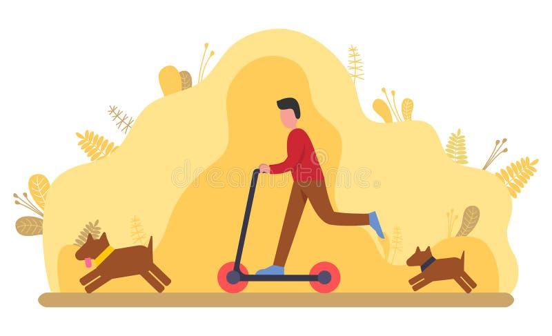 Osoba chodzÄ…ca z psem, biegajÄ…ca na zewnÄ…trz royalty ilustracja