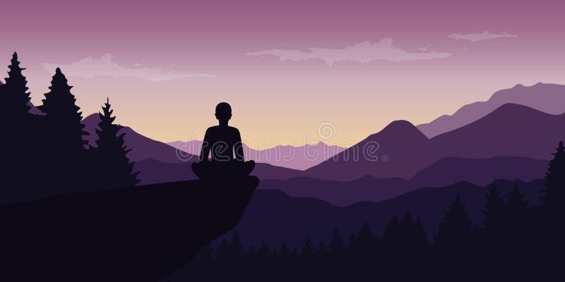 Osoba cieszy się ciszę przy purpurowej góry natury krajobrazem ilustracja wektor