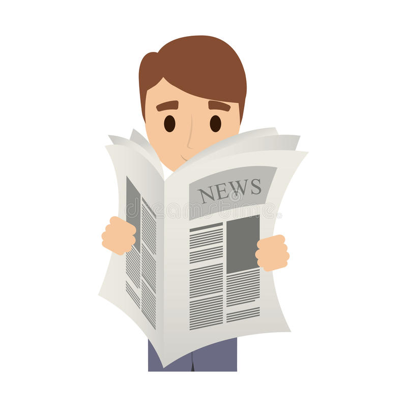 Osoba czyta gazetę ilustracja wektor