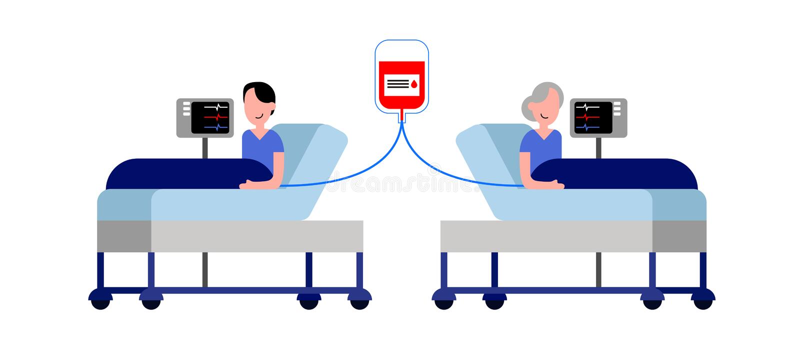Osoba daruje krew inna stara osoba podczas gdy oba lying on the beach na blejtramach royalty ilustracja