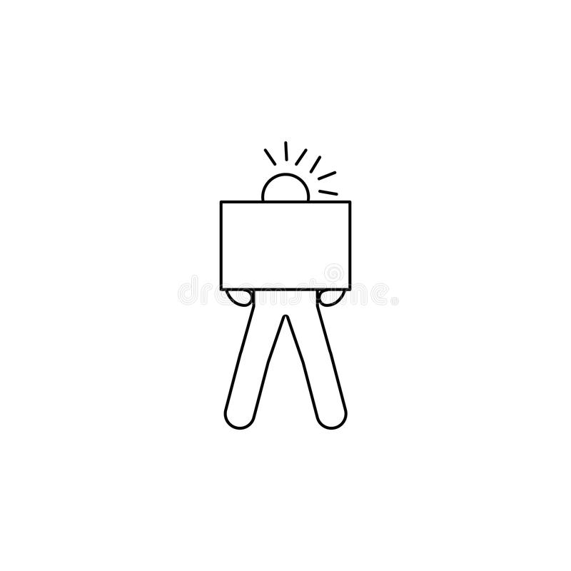 osoba gorliwie niesie pudełkowatą ikonę Element mężczyzna niesie pudełkowatą ilustrację Premii ilości graficznego projekta ikona  ilustracja wektor